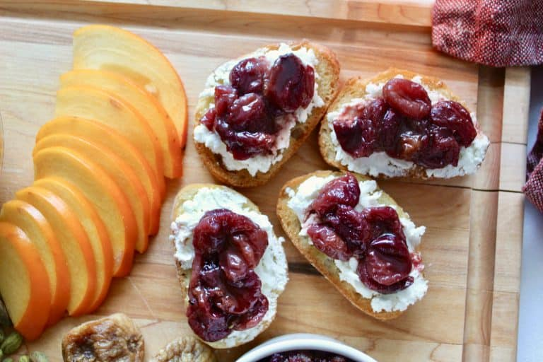 Roasted Grape, Date Syrup, and Goat Cheese Crostini