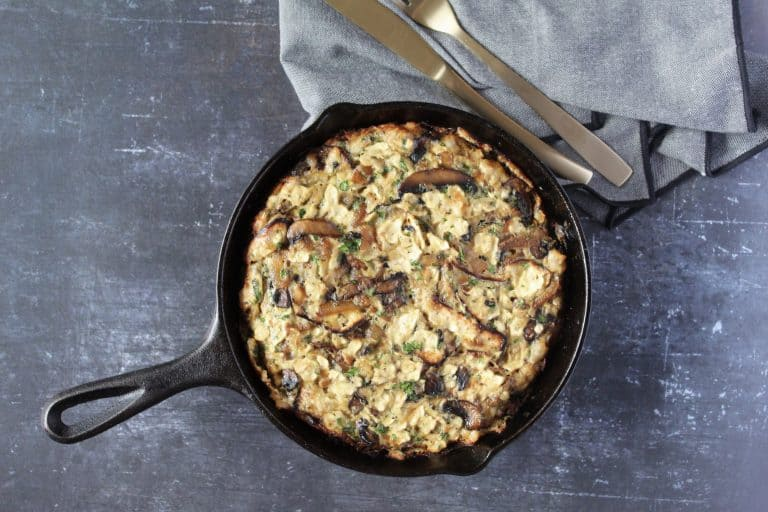 Herby Mushroom and Caramelized Onion Matzah Brei